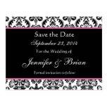 Black White Pink Damask Save Date Postcard