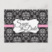 Black White Pink Damask Save the Date Announcement Postcard