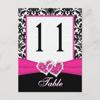 Black, White, Pink Damask Table Number Post Card