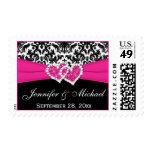 Black White Pink Damask Wedding Postage