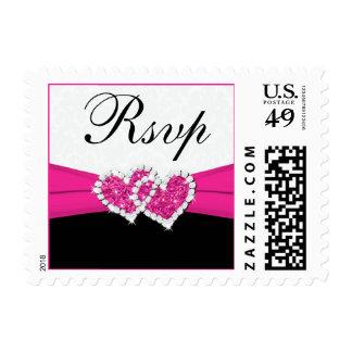 Black White Pink Damask Wedding RSVP Postage