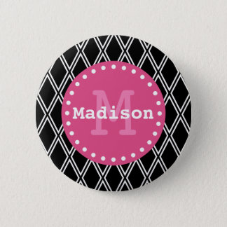 Black White Pink Diamond Pattern Monogram Button