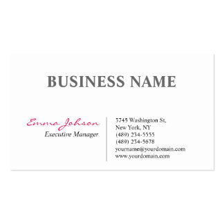 Black White Pink Elegant Modern Simple Business Card