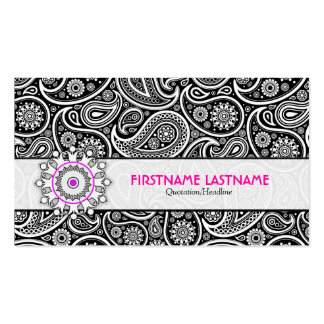 Black White & Pink Elegant Paisley Pattern Double-Sided Standard Business Cards (Pack Of 100)