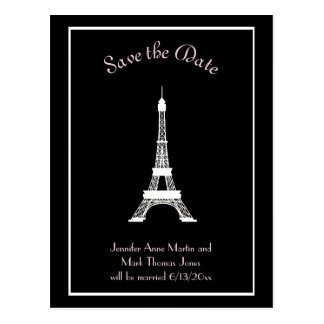 Black White Pink French Eiffel Tower Save the Date Postcard