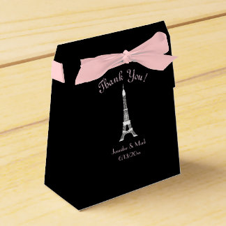 Black White Pink French Eiffel Tower Wedding Favor Box