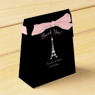 Black White Pink French Eiffel Tower Wedding Party Favor Box