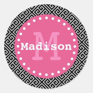 Black White Pink Greek Key Monogram Classic Round Sticker