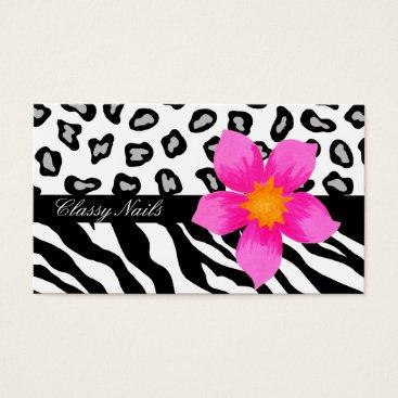 Professional Business Black, White, Pink & Grey Zebra & Cheetah Skin Business Card