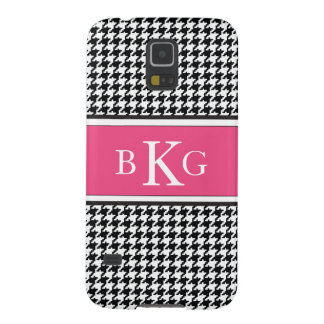 Black White Pink Houndstooth Pattern Monogram Case For Galaxy S5