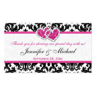 Black, White, Pink Joined Hearts Damask Favor Tag