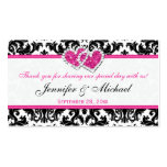 Black, White, Pink Joined Hearts Damask Favor Tag Business Card
