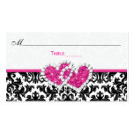 Black, White, Pink Joined Hearts Damask Place Card Business Card Template