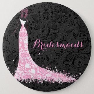 Black White & Pink Lace Wedding Dress Bridesmaids Pinback Button