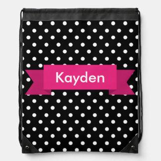 Black White Pink Polka Dot Custom Name Backpacks