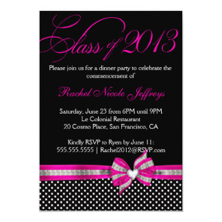 Black White Pink Polka Dot Graduation Invitation