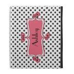 Black White Pink Polka Dot Personalized iPad Folio Case