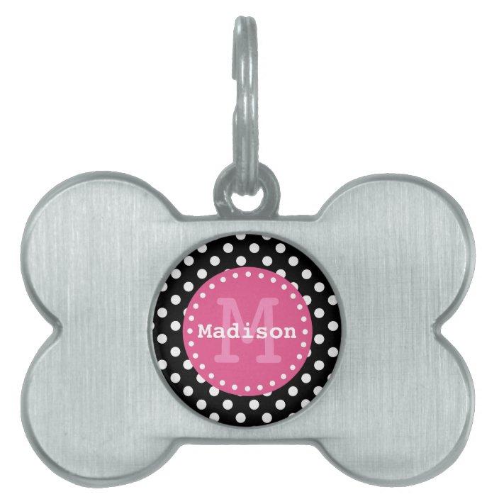 Black White Pink Polka Dots Monogram Pet Tag Zazzle Com