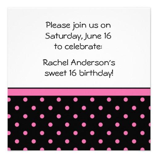Black White Pink Polka Dots Party Invite