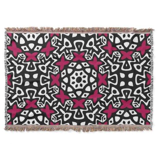 Black White Pink Pop Woven Throw Blanket