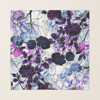 Black & White Pink Purple Blue Winter Sky Floral Scarf