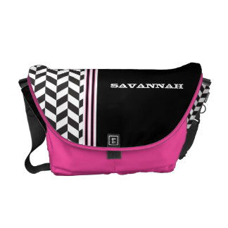 Black & White Pink Racing Stripe Messenger Courier Bag