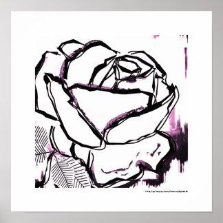 Black White Pink Rose - Pop Rose Poster Art Prints