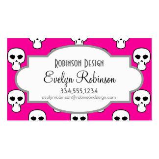 Black, White, Pink Skulls Pattern Business Card