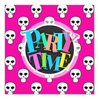 Black, White, Pink Skulls Pattern Card