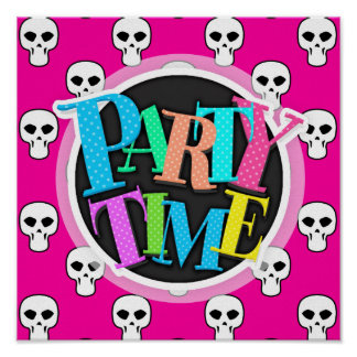 Black, White, Pink Skulls Pattern Posters