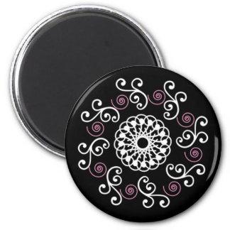 Black White & Pink Spiral 2 Inch Round Magnet