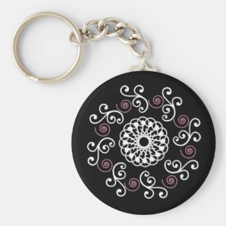 Black White & Pink Spiral Basic Round Button Keychain