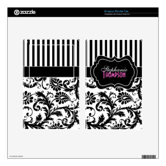 Black White Pink Striped Damask Kindle Fire Skin