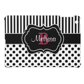 Black White Pink Striped Polka Dots iPad Mini Case