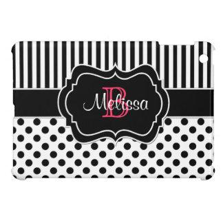 Black White Pink Striped Polka Dots iPad Mini Case