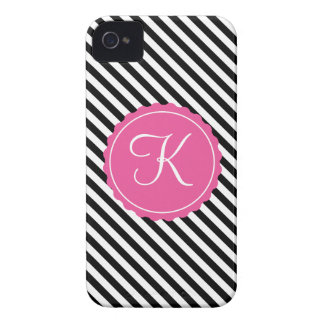 Black, White & Pink Stripes Custom Initial iPhone 4 Covers