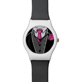 Black White & Pink Tuxedo Wedding Prom Tux Watch