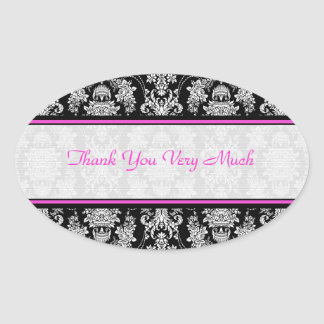 Black White  & Pink Vintage Baroque Floral Pattern Oval Sticker