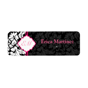 Black White & Pink Vintage Floral Damasks 2 Custom Return Address Label