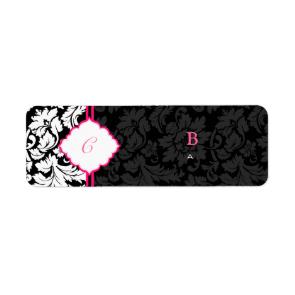 Black White & Pink Vintage Floral Damasks 2 Custom Return Address Label