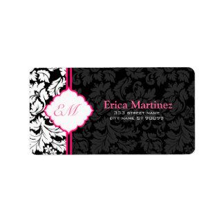 Black White & Pink Vintage Floral Damasks 2 Label