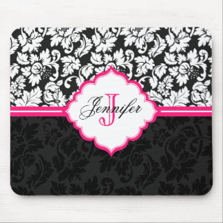 Black White & Pink Vintage Floral Damasks 2 Mouse Pad