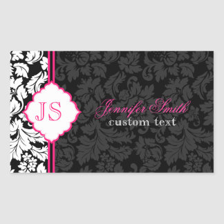 Black White & Pink Vintage Floral Damasks 2 Rectangular Sticker
