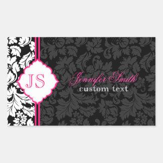 Black White Pink Vintage Floral Damasks 2 Rectangle Sticker