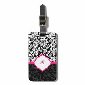 Black White & Pink Vintage Floral Damasks Bag Tags