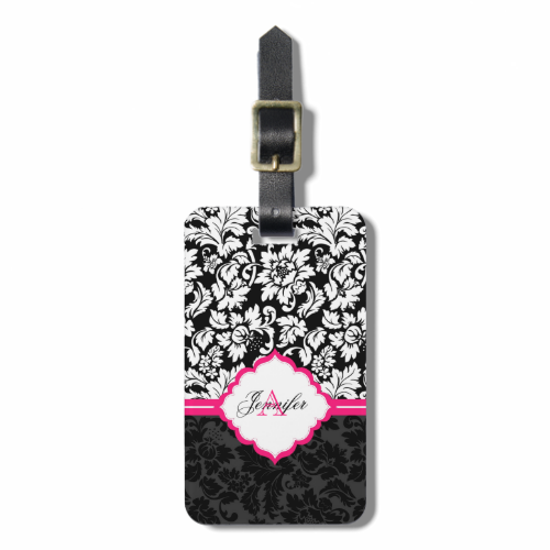 Black White & Pink Vintage Floral Damasks Bag Tags