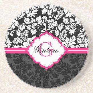 Black White & Pink Vintage Floral Damasks Drink Coasters