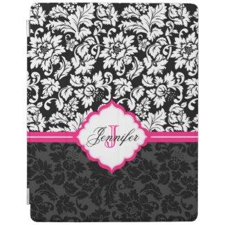 Black White & Pink Vintage Floral Damasks iPad Cover