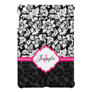 Black White & Pink Vintage Floral Damasks Cover For The iPad Mini