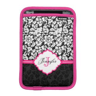 Black White & Pink Vintage Floral Damasks iPad Mini Sleeve